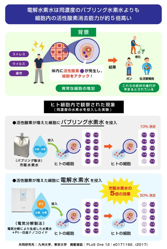 電解水素水は同水素濃度の水素水に比べ HT1080 細胞の細胞内活性酸素消去能力が強い